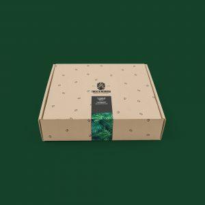 Caja de cartón con fondo verde