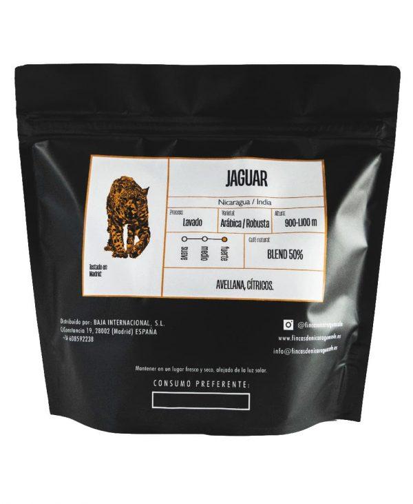 Paquete negro de 250g con pegatina de jaguar